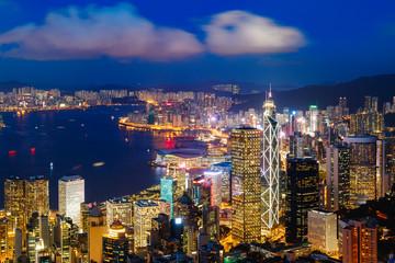 Hong Kong skyline at dusk, View from The peak, Hong Kong