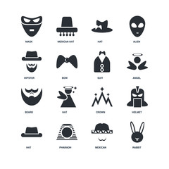 Set Of 16 icons such as Rabbit, Mexican, Pharaoh, Hat, Helmet, Mask, Hipster, Beard, Suit icon