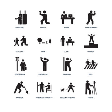 Set Of 16 icons such as Photo, Walking the dog, Pregnant priorit
