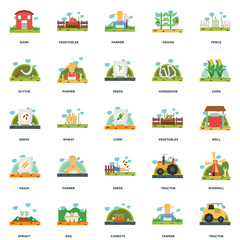 Set Of 25 icons such as Tractor, Farmer, Carrots, Egg, Sprout, Corn, Vegetables, Seeds, Grain, Scythe, Vegetables icon