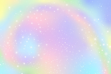 Pastel Falling Snow Glow Star Background. Colorful Sky Holographic Cloud Rainbow Christmas New Year Celebration Vector
