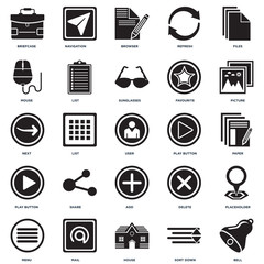 Set Of 25 icons such as Bell, Sort down, House, Mail, Menu, Picture, Play button, Add, Mouse, Browser, Navigation icon