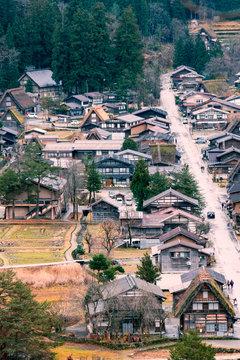 Traditional and Historical Japanese village Shirakawago in Gifu Prefecture Japan,  the UNESCO World Heritage List , View from Shirakawago view point