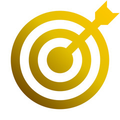 Target sign - golden gradient transparent with dart, isolated - vector