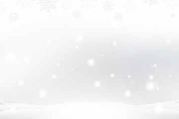 Christmas and New Year background with snowflakes and light effects on a blue background. Flat vector illustration EPS10