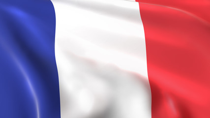 3D illustration of the France flag waving