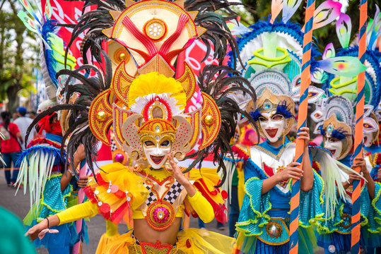 Colorful smiling mask of Masskara Festival, Bacolod City, Philippines