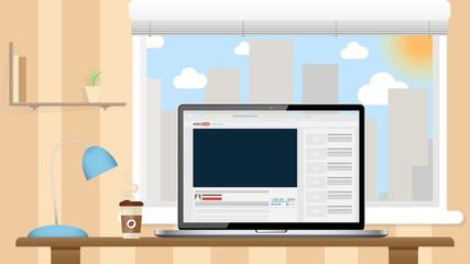 Video Blog in Laptop Screen. Flat Illustration.