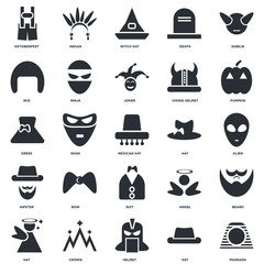 Set Of 25 icons such as Pharaoh, Hat, Helmet, Crown, Pumpkin, Suit, Hipster, Wig, Witch hat, Indian icon