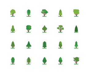Simple Set of 20 Vector Icon. Contains such Icons as Tree, Tree. Editable Stroke pixel perfect