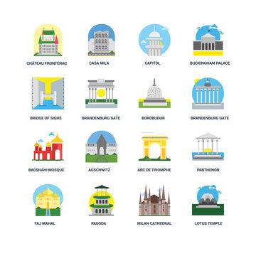 Set Of 16 icons such as Lotus temple, Milan cathedral, Pagoda, Taj mahal, Parthenon, Ch?teau frontenac, Bridge of sighs, Badshahi mosque, Borobudur icon