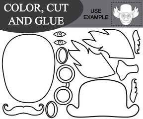 Color, cut and glue the image of face of clown. Paper game for kids. Vector illustration