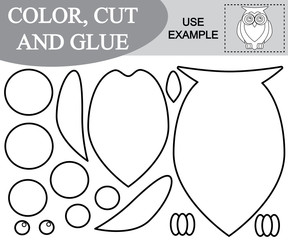 Create the image of owl using scissors and glue, coloring book. Game for children. Vector illustration.