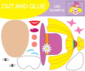 Create the image of face of girl clown using scissors and glue. Paper game for children. Vector illustration