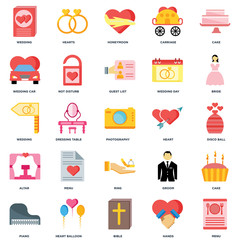 Set Of 25 icons such as Menu, Hands, Bible, Heart balloon, Piano, Bride, Heart, Ring, Altar, Wedding car, Honeymoon, Hearts icon