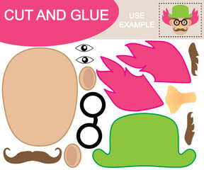 Create the image of face of clown using scissors and glue. Educational game for children. Vector illustration