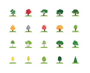 Simple Set of 20 Vector Icon. Contains such Icons as tree, White Ash Bigtooth Aspen Sugar Maple tree. Editable Stroke pixel perfect
