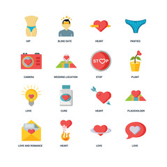 Set Of 16 icons such as Love, Heart, Love and romance, Placehold