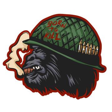 Gorilla head in soldier helmet with sigarette