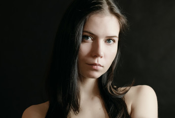 Portrait of beautiful young woman. Selective focus.