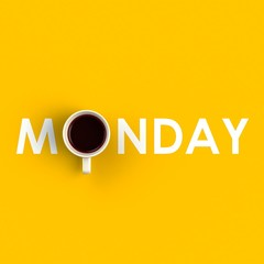 Top view of a cup of coffee in the form of monday isolated on yellow background, Coffee concept illustration, 3d rendering