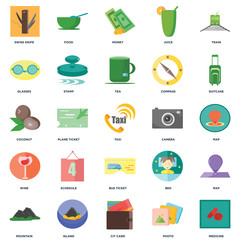 Set Of 25 icons such as Medicine, Photo, Cit card, Island, Mountain, Suitcase, Camera, Bus ticket, Wine, Glasses, Money, Food icon