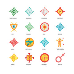 Simple Set of 16 Vector Icon. Contains such Icons as Venus, Esoteric, Virgo, Voodoo doll, Sagittarius, Eye, Libra, Sun, undefined, undefined. Editable Stroke pixel perfect