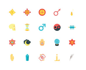 Simple Set of 20 Vector Icon. Contains such Icons as Quill, Candle, Tarot, Crystal, Palm, Pendulum, Yin yang, Hand, Eye, Hourglass, Esoteric. Editable Stroke pixel perfect