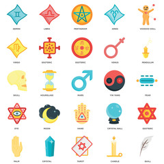 Simple Set of 25 Vector Icon. Contains such Icons as Quill, Candle, Tarot, Crystal, Palm, Pendulum, Yin yang, Hand, Eye, Virgo, Pentagram, Libra. Editable Stroke pixel perfect