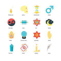 Simple Set of 16 Vector Icon. Contains such Icons as Quill, Candle, Tarot, Crystal, Palm, Pendulum, Yin yang, Hand, Eye, undefined, undefined. Editable Stroke pixel perfect