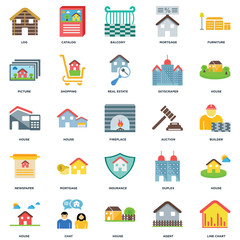 Set Of 25 icons such as Line chart, Agent, House, Chat, Auction, Insurance, Newspaper, Picture, Balcony, Catalog icon