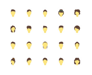 Simple Set of 20 Vector Icon. Contains such Icons as Woman hair, Man hair. Editable Stroke pixel perfect