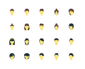 Simple Set of 20 Vector Icon. Contains such Icons as Man hair, Woman hair. Editable Stroke pixel perfect