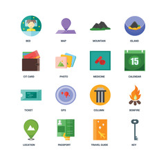 Set Of 16 icons such as Key, Travel guide, Passport, Location, Bonfire, Bed, Cit card, Ticket, Medicine icon