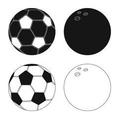Vector design of sport and ball symbol. Set of sport and athletic stock symbol for web.