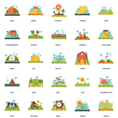 Set Of 25 icons such as Wheat, Sunny, Seed, Tractor, Cow, Fertilizer, Barn, Bee, Poo, Wheelbarrow, Flower, Honey icon