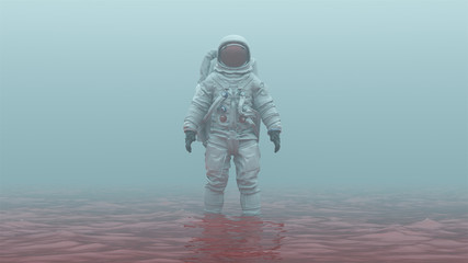 Astronaut with Red Visor Standing in Red Liquid in a Foggy Overcast Alien Environment 3d illustration 3d render