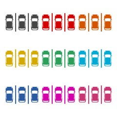 Cars in the parking lot, Parking icon or logo, color set