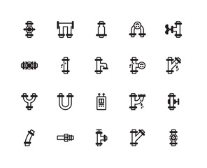 Simple Set of 20 Vector Icon. Contains such Icons as Pipes, Pipes. Editable Stroke pixel perfect
