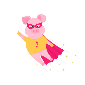 Funny pig in superhero costume flying. Cute piggy in a t-shirt and raincoat.