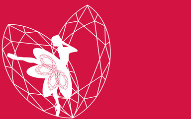 Valentine day background with heart love beautiful and ballet dancer, modern style geometric. Vector illustration.
