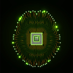 Abstract technological neon brain. Circuit board. Vector