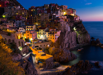 Manarola La Spezia  city with small villages at evening, Italy