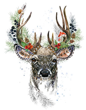 forest deer watercolor illustration. Christmas reindeer. Winter greeting card design. forest wild nature