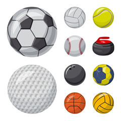 Vector design of sport and ball sign. Collection of sport and athletic stock vector illustration.