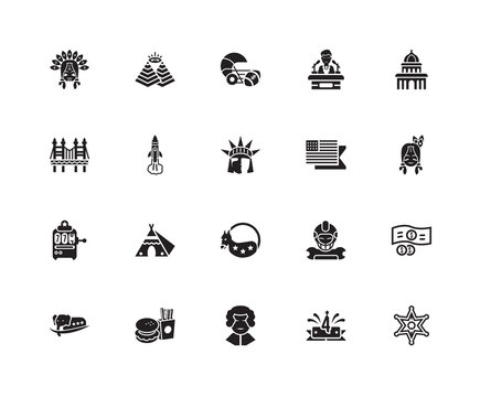 Simple Set of 20 Vector Icon. Contains such Icons as Sheriff, Indian, Capitol, Conference, Elephant, Pyramid, Football, Golden gate. Editable Stroke pixel perfect