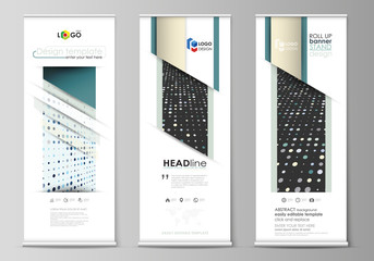 Roll up banner stands, flat templates, abstract geometric style, corporate vertical flyers, flag layouts. Soft color dots, illusion of depth and perspective, dotted background. Elegant vector design.