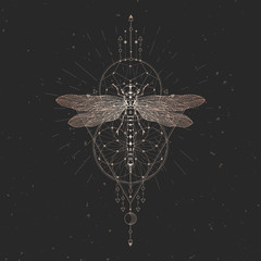 Vector illustration with hand drawn dragonfly and Sacred geometric symbol on black vintage background. Abstract mystic sign. Gold linear shape.