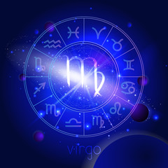 Vector illustration of sign VIRGO with Horoscope circle against the space background.