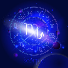 Vector illustration of sign SCORPIO with Horoscope circle against the space background.